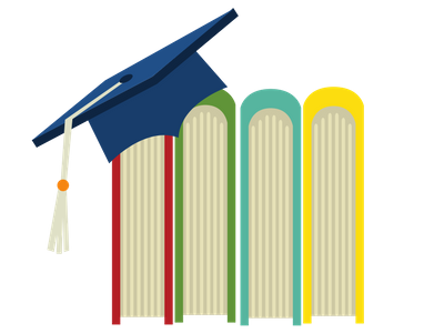 graphic of books on a shelf with a graduation cap