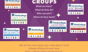 Purple & gold square with 7 affinity group logos and website to learn more