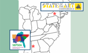 Map of Eastern United States with stars at Tuscaloosa, AL (location of 2020 SEPSEA conference) and Syracuse, NY (location of 2020 State of the Art conference)