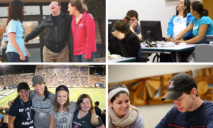 photos of students with disabilities and their peers in 4 settings: 1 on campus, 1 in a learning lab, 1 at a football game, 1 in a classroom