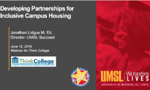 Opening screen of Developing Partnerships for Inclusive Campus Housing webinar