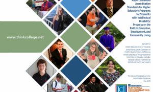 cover of report featuring colored boxes and photos of college students