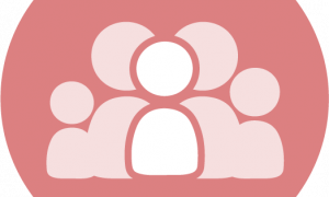 red circle with icons representing a family