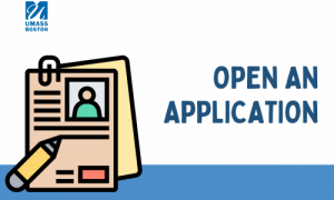 Icon of application papers and a pencil, text reads open an application