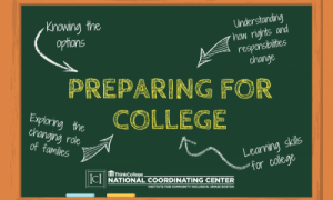 Chalkboard image with the words Preparing for College