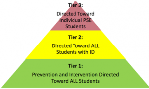 Red, yellow, and green layered pyramid representing a 3 tiered support model