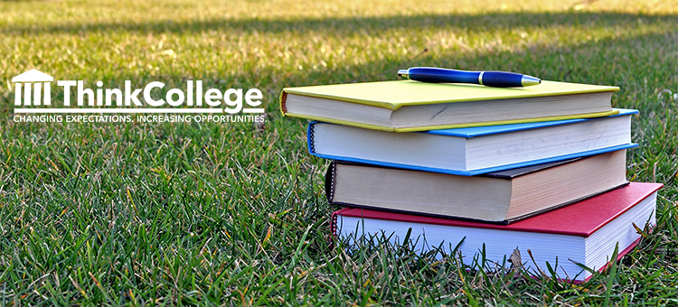 academic books on grass with think college logo