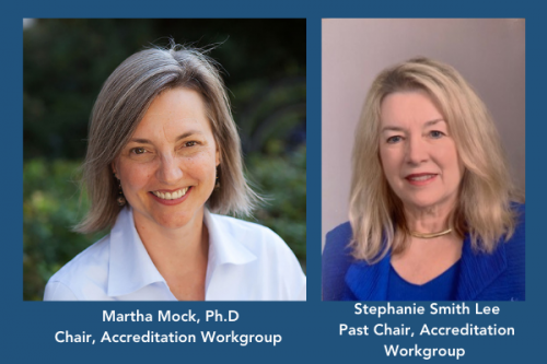 photos of Martha Mock and Stephanie Smith Lee, chair and past chair of the Accreditation Workgroup