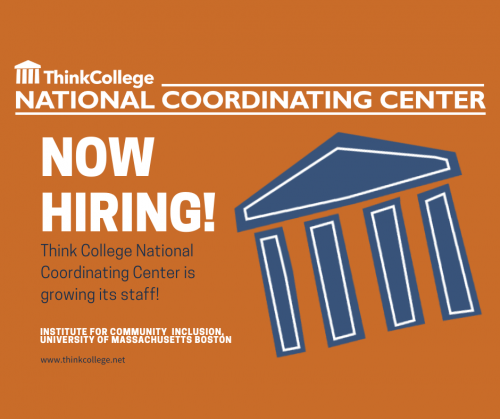 Orange graphic with NCC parthenon logo in blue with text NOW HIRING; Think College NCC is growing its staff.