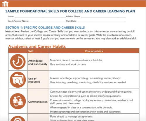 Image of first page of Sample Foundational Skills form