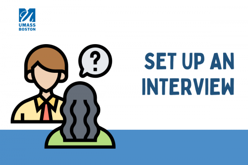 Icon of two people talking, text reads set up an interview